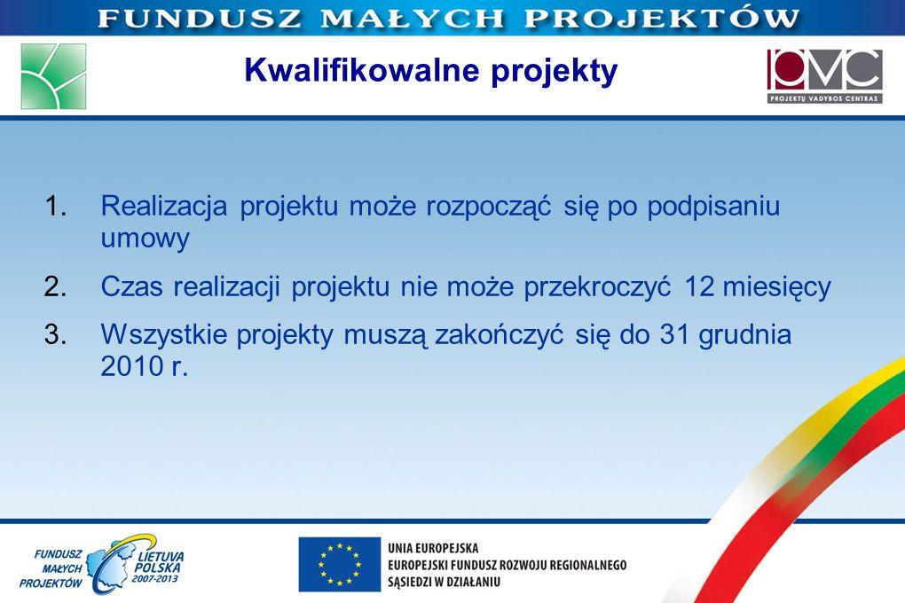 Kwalifikowalne projekty 1.Realizacja projektu może rozpocząć się po podpisaniu umowy 2.Czas realizacji projektu nie może przekroczyć 12 miesięcy 3.Wsz