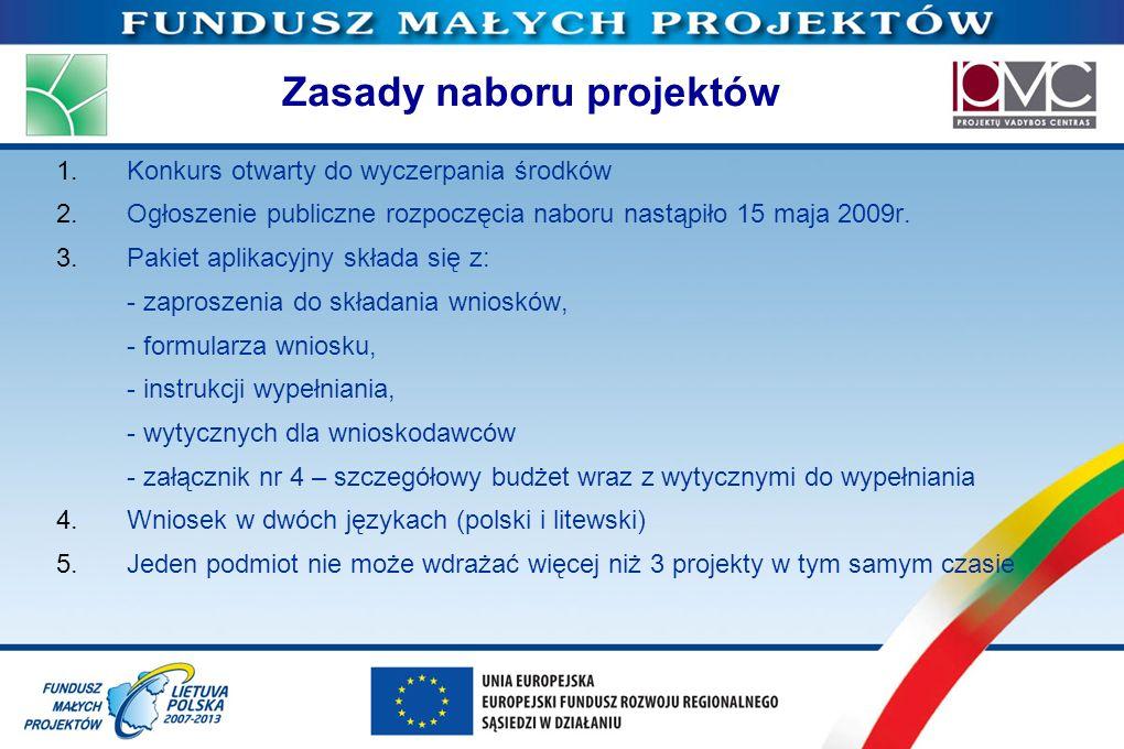 Zasady naboru projektów 1.Konkurs otwarty do wyczerpania środków 2.Ogłoszenie publiczne rozpoczęcia naboru nastąpiło 15 maja 2009r. 3.Pakiet aplikacyj