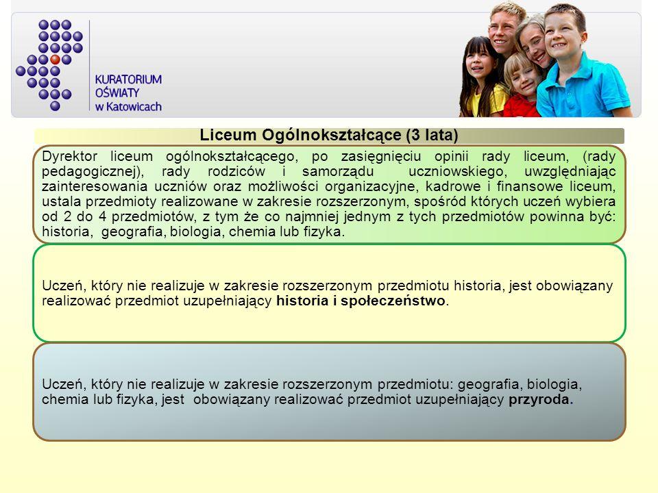 Liceum Ogólnokształcące (3 lata) Dyrektor liceum ogólnokształcącego, po zasięgnięciu opinii rady liceum, (rady pedagogicznej), rady rodziców i samorzą