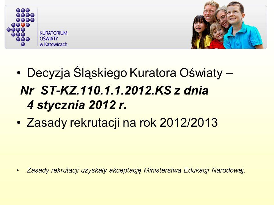 Decyzja Śląskiego Kuratora Oświaty – Nr ST-KZ.110.1.1.2012.KS z dnia 4 stycznia 2012 r. Zasady rekrutacji na rok 2012/2013 Zasady rekrutacji uzyskały