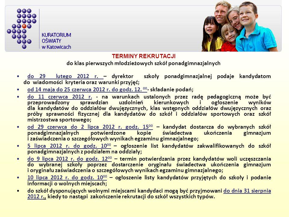 TERMINY REKRUTACJI do klas pierwszych młodzieżowych szkół ponadgimnazjalnych do 29 lutego 2012 r. – dyrektor szkoły ponadgimnazjalnej podaje kandydato