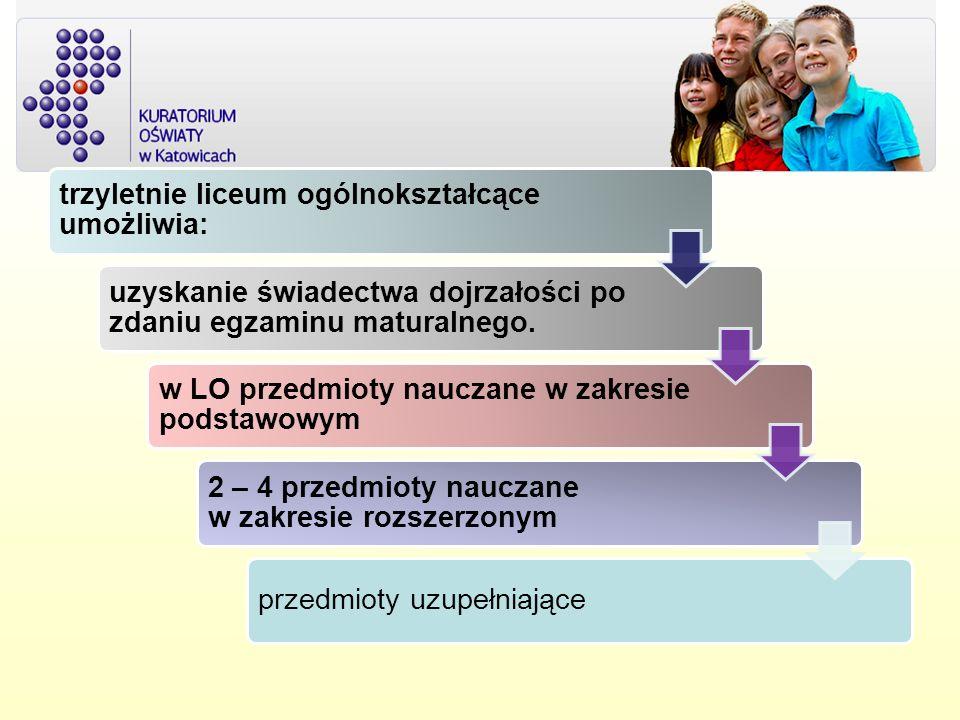trzyletnie liceum ogólnokształcące umożliwia: uzyskanie świadectwa dojrzałości po zdaniu egzaminu maturalnego. w LO przedmioty nauczane w zakresie pod