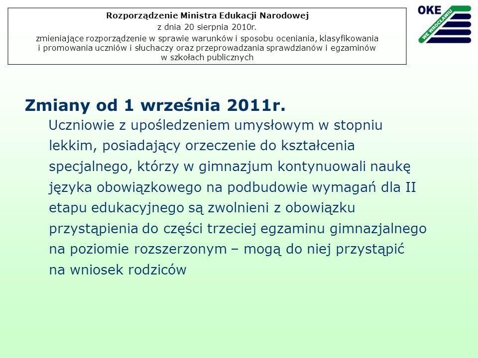 Zmiany od 1 września 2011r.