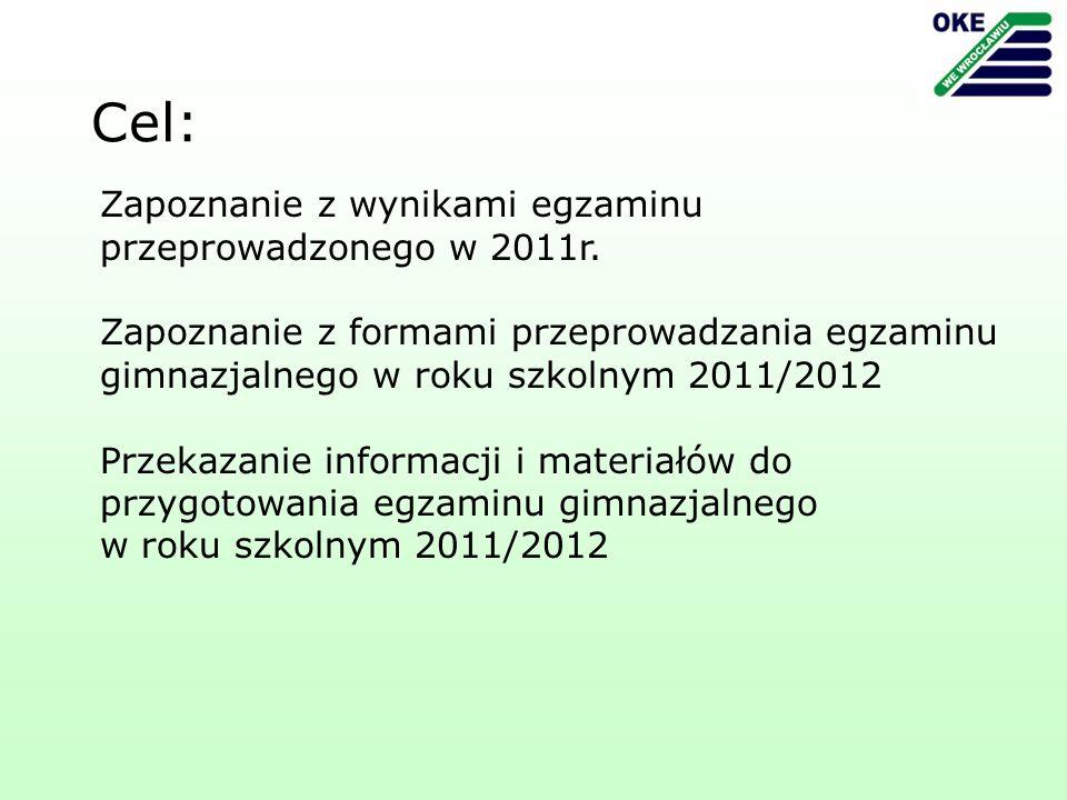 Zapoznanie z wynikami egzaminu przeprowadzonego w 2011r.