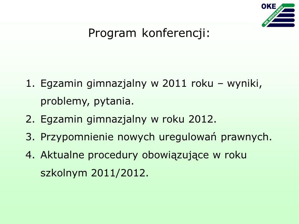 1.Egzamin gimnazjalny w 2011 roku – wyniki, problemy, pytania.