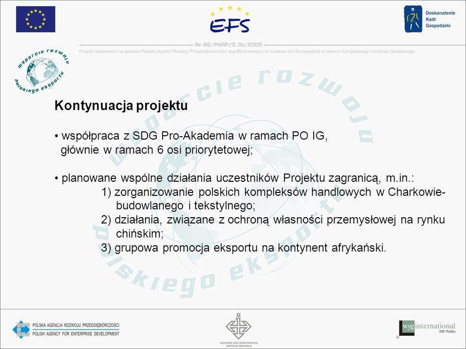 Kontynuacja projektu współpraca z SDG Pro-Akademia w ramach PO IG, głównie w ramach 6 osi priorytetowej; planowane wspólne działania uczestników Projektu zagranicą, m.in.: 1) zorganizowanie polskich kompleksów handlowych w Charkowie- budowlanego i tekstylnego; 2) działania, związane z ochroną własności przemysłowej na rynku chińskim; 3) grupowa promocja eksportu na kontynent afrykański.