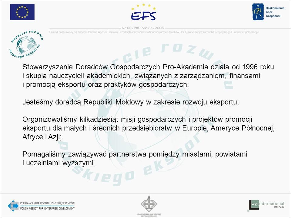 Stowarzyszenie Doradców Gospodarczych Pro-Akademia działa od 1996 roku i skupia nauczycieli akademickich, związanych z zarządzaniem, finansami i promocją eksportu oraz praktyków gospodarczych; Jesteśmy doradcą Republiki Mołdowy w zakresie rozwoju eksportu; Organizowaliśmy kilkadziesiąt misji gospodarczych i projektów promocji eksportu dla małych i średnich przedsiębiorstw w Europie, Ameryce Północnej, Afryce i Azji; Pomagaliśmy zawiązywać partnerstwa pomiędzy miastami, powiatami i uczelniami wyższymi.