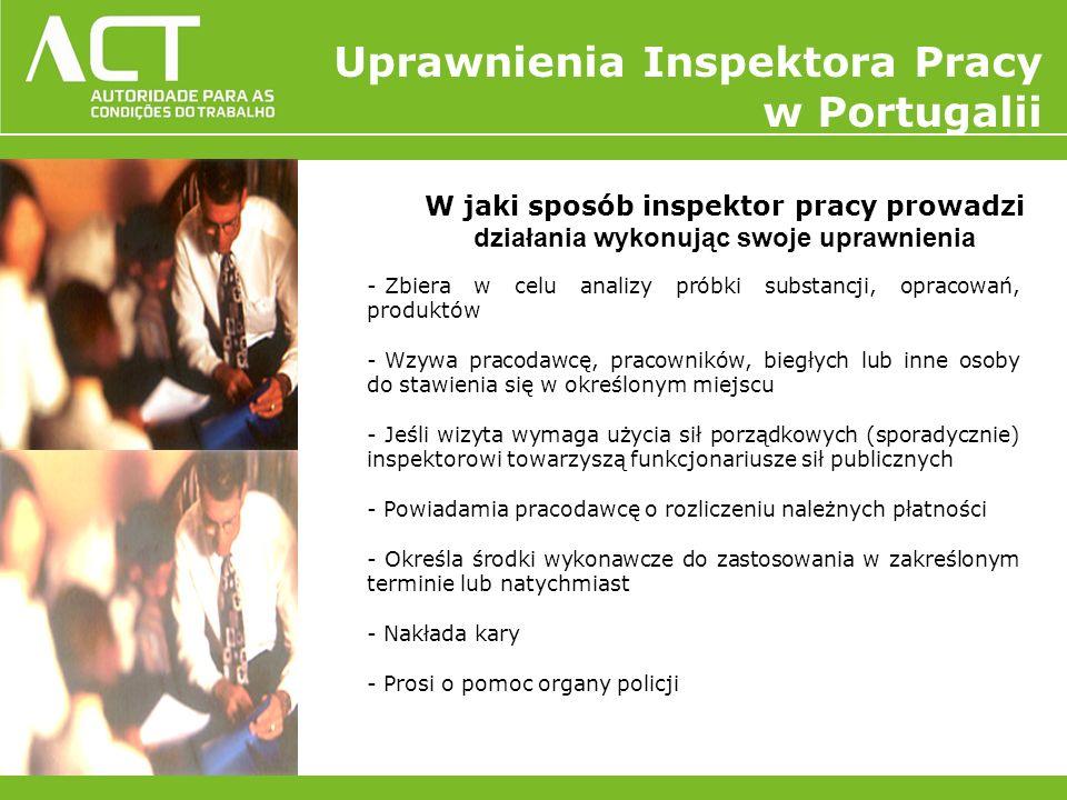 W jaki sposób inspektor pracy prowadzi działania wykonując swoje uprawnienia - Zbiera w celu analizy próbki substancji, opracowań, produktów - Wzywa p