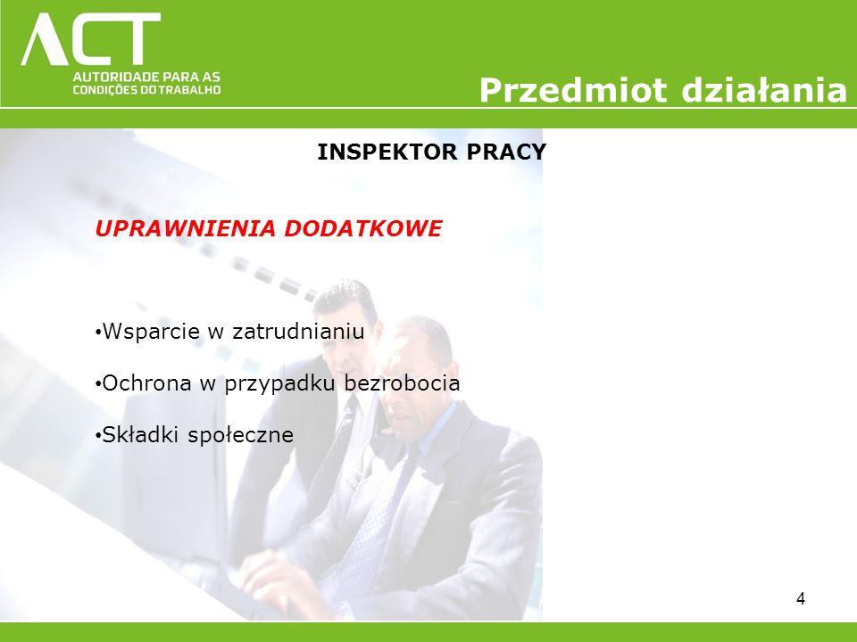 INSPEKTOR PRACY UPRAWNIENIA DODATKOWE Wsparcie w zatrudnianiu Ochrona w przypadku bezrobocia Składki społeczne 4 Przedmiot działania