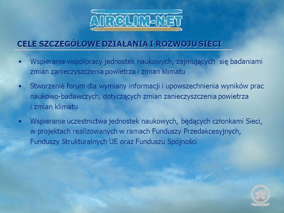 Podniesienie poziomu i znaczenia w Europejskiej Przestrzeni Badawczej polskich badań nad zagadnieniami zmian klimatu, powodowanych zmianami emisji zanieczyszczeń do powietrza i procesów zachodzących w atmosferze nad obszarem Polski Tworzenie, gromadzenie, przetwarzanie i upowszechnianie informacji naukowej w zakresie działania Sieci Promocja wyników i zastosowań praktycznych badań naukowych prowadzonych w ramach sieci naukowej Rozwój współpracy międzynarodowej