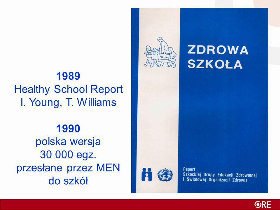 1989 Healthy School Report I. Young, T. Williams 1990 polska wersja 30 000 egz. przesłane przez MEN do szkół