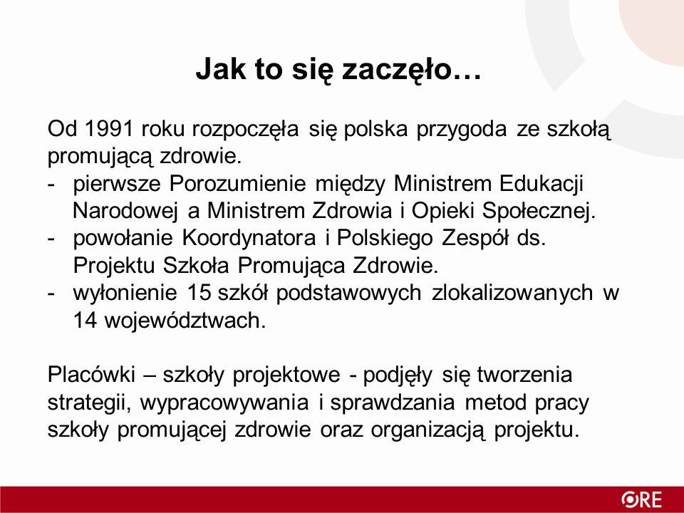 Jak to się zaczęło… Od 1991 roku rozpoczęła się polska przygoda ze szkołą promującą zdrowie. -pierwsze Porozumienie między Ministrem Edukacji Narodowe