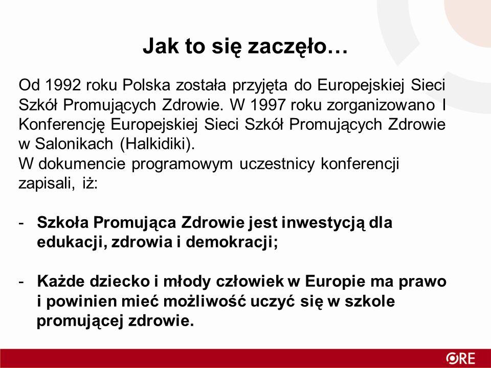 Jak to się zaczęło… Od 1992 roku Polska została przyjęta do Europejskiej Sieci Szkół Promujących Zdrowie. W 1997 roku zorganizowano I Konferencję Euro