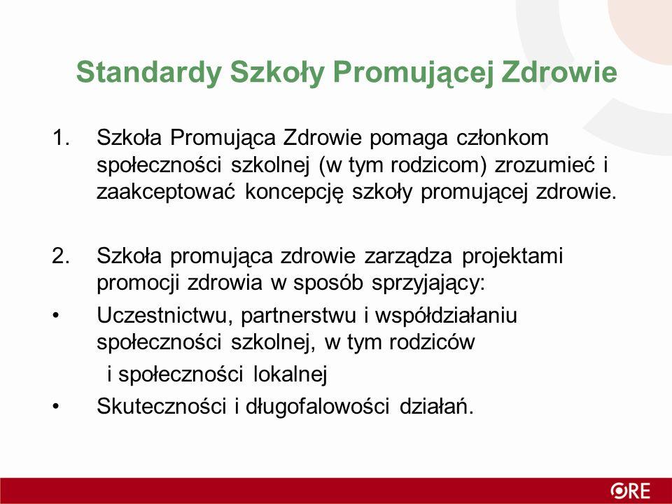 Standardy Szkoły Promującej Zdrowie 1.Szkoła Promująca Zdrowie pomaga członkom społeczności szkolnej (w tym rodzicom) zrozumieć i zaakceptować koncepc