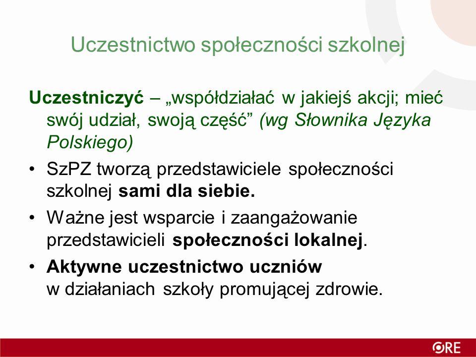 Uczestnictwo społeczności szkolnej Uczestniczyć – współdziałać w jakiejś akcji; mieć swój udział, swoją część (wg Słownika Języka Polskiego) SzPZ twor