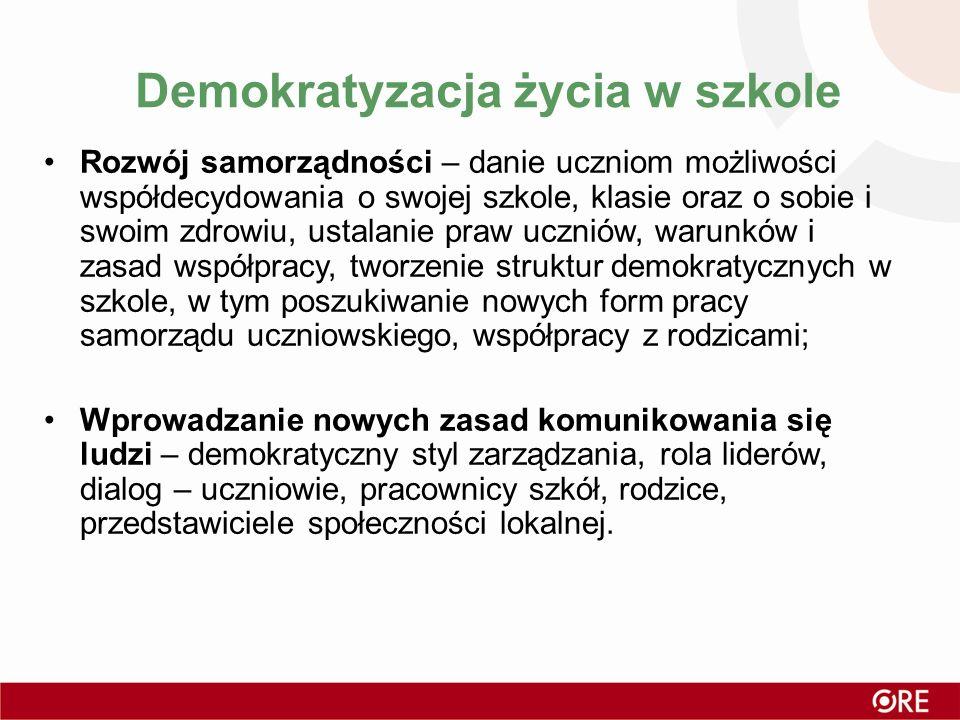 Demokratyzacja życia w szkole Rozwój samorządności – danie uczniom możliwości współdecydowania o swojej szkole, klasie oraz o sobie i swoim zdrowiu, u