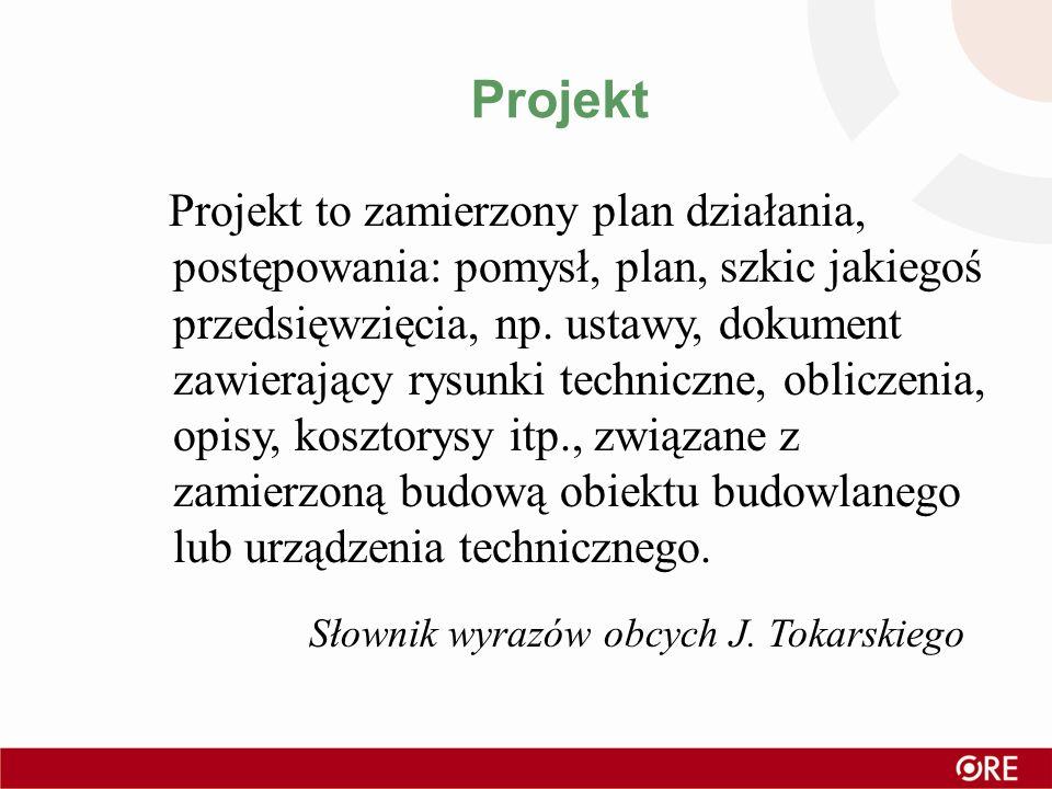 Projekt Projekt to zamierzony plan działania, postępowania: pomysł, plan, szkic jakiegoś przedsięwzięcia, np. ustawy, dokument zawierający rysunki tec