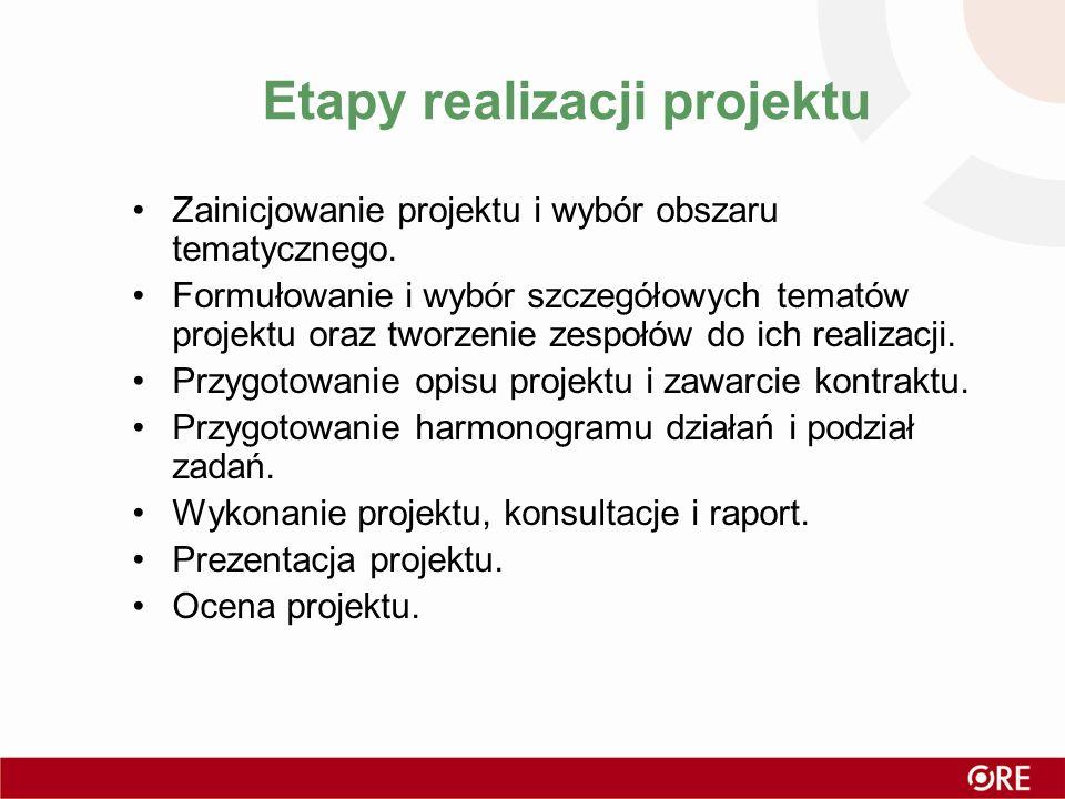 Etapy realizacji projektu Zainicjowanie projektu i wybór obszaru tematycznego. Formułowanie i wybór szczegółowych tematów projektu oraz tworzenie zesp