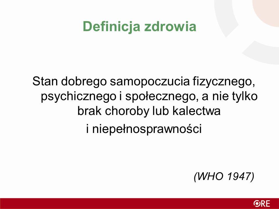 Definicja zdrowia Stan dobrego samopoczucia fizycznego, psychicznego i społecznego, a nie tylko brak choroby lub kalectwa i niepełnosprawności (WHO 19