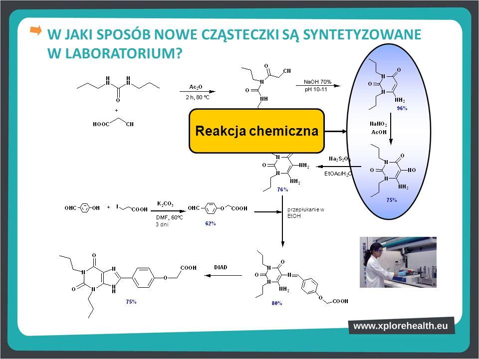 Reakcja chemiczna W JAKI SPOSÓB NOWE CZĄSTECZKI SĄ SYNTETYZOWANE W LABORATORIUM? przepłukanie w EtOH 3 dni