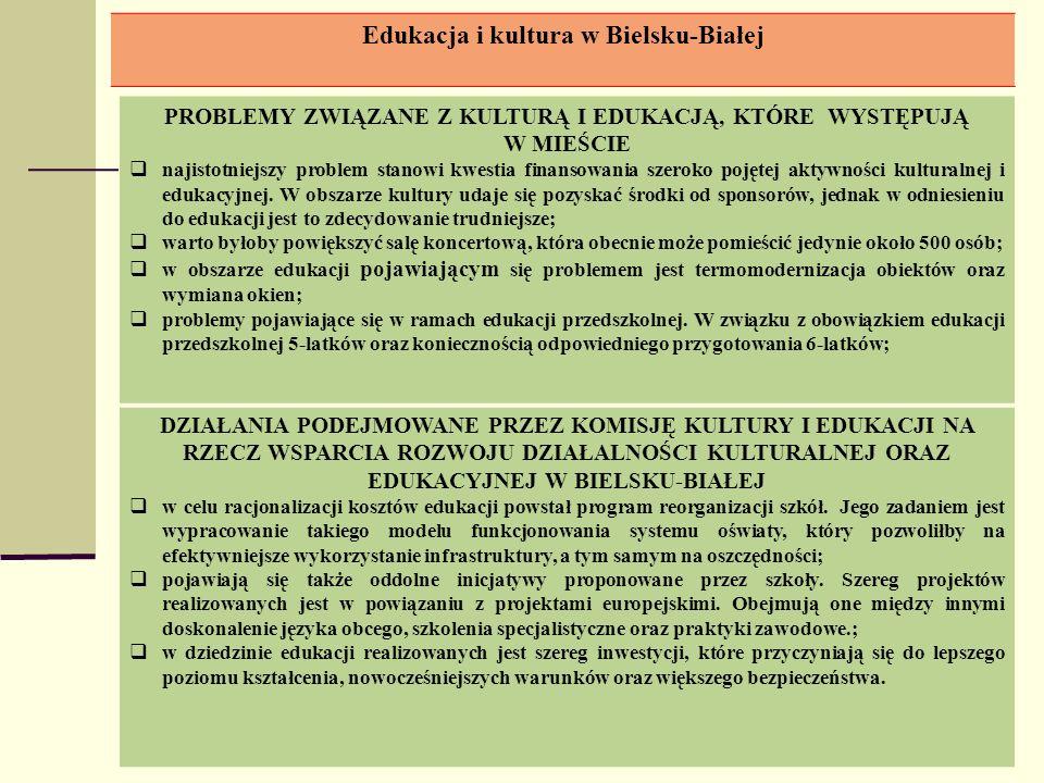 Edukacja i kultura w Bielsku-Białej PROBLEMY ZWIĄZANE Z KULTURĄ I EDUKACJĄ, KTÓRE WYSTĘPUJĄ W MIEŚCIE najistotniejszy problem stanowi kwestia finansow