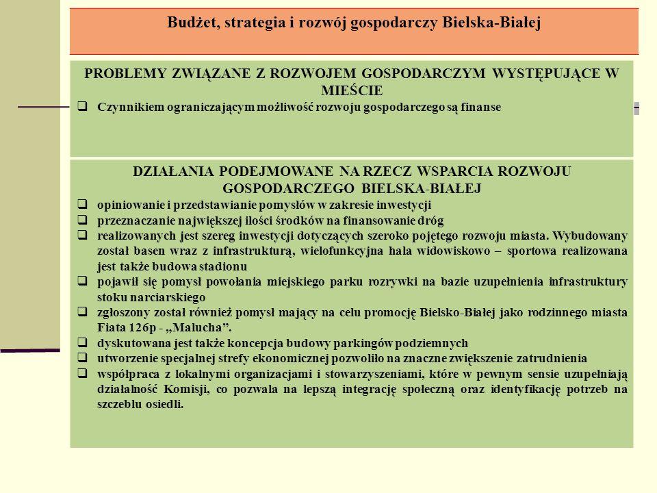 Budżet, strategia i rozwój gospodarczy Bielska-Białej PROBLEMY ZWIĄZANE Z ROZWOJEM GOSPODARCZYM WYSTĘPUJĄCE W MIEŚCIE Czynnikiem ograniczającym możliw