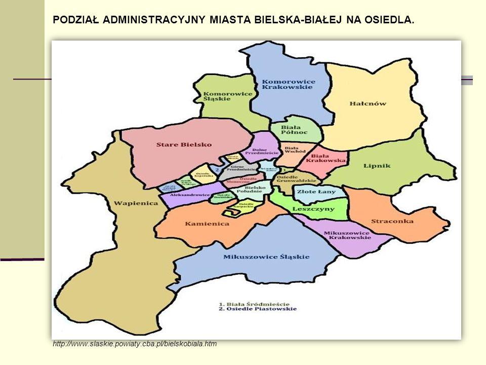 PODZIAŁ ADMINISTRACYJNY MIASTA BIELSKA-BIAŁEJ NA OSIEDLA. http://www.slaskie.powiaty.cba.pl/bielskobiala.htm