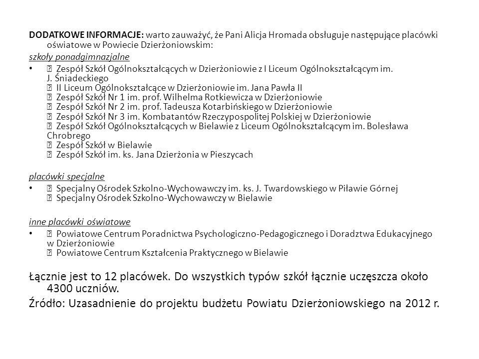 DODATKOWE INFORMACJE: warto zauważyć, że Pani Alicja Hromada obsługuje następujące placówki oświatowe w Powiecie Dzierżoniowskim: szkoły ponadgimnazja