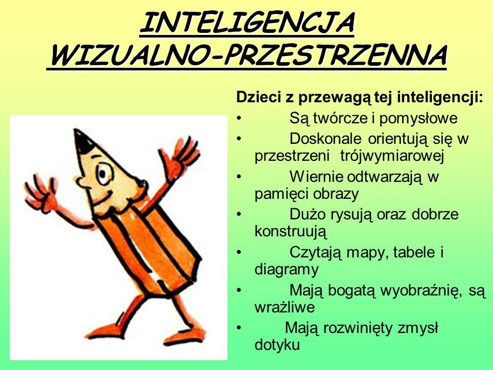 MATEMATYCZNO-LOGICZNA Dzieci z przewagą tej inteligencji: Mają uzdolnienia matematyczne Lubią porządek i precyzyjne instrukcje, są dokładne i zorganizowane Są konkretne i dociekliwe, dążą do osiągnięcia celu Badają i zbierają informacje Lubią gry, łamigłówki, zagadki Potrafią rozwiązywać problemy Umiejętnie szeregują, klasyfikują i wnioskują