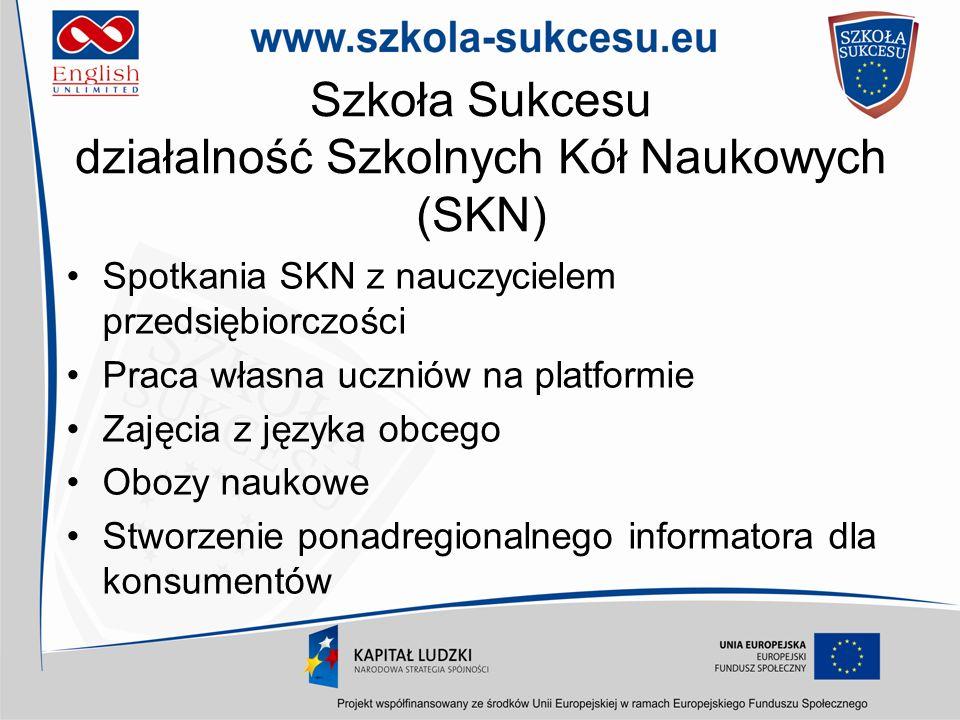 Szkoła Sukcesu działalność Szkolnych Kół Naukowych (SKN) Spotkania SKN z nauczycielem przedsiębiorczości Praca własna uczniów na platformie Zajęcia z