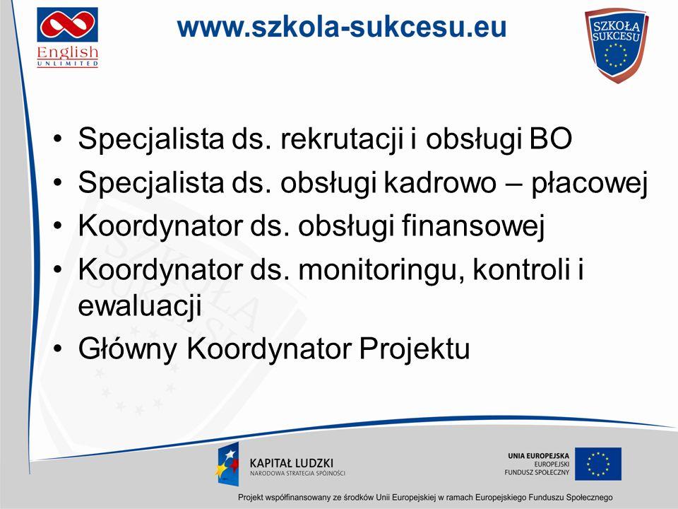 Specjalista ds. rekrutacji i obsługi BO Specjalista ds. obsługi kadrowo – płacowej Koordynator ds. obsługi finansowej Koordynator ds. monitoringu, kon