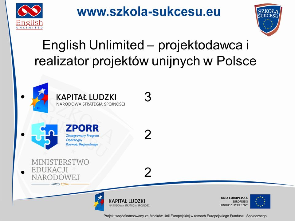 English Unlimited – projektodawca i partner projektów unijnych w Europie Lifelong Learning –Grundvig 4 –Leonardo 1 –KA2 Languages 3