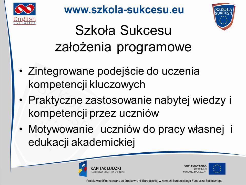 Szkoła Sukcesu założenia programowe Zintegrowane podejście do uczenia kompetencji kluczowych Praktyczne zastosowanie nabytej wiedzy i kompetencji prze