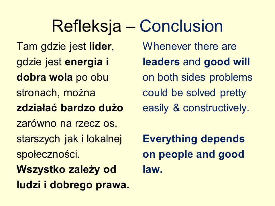 Refleksja – Conclusion Tam gdzie jest lider, gdzie jest energia i dobra wola po obu stronach, można zdziałać bardzo dużo zarówno na rzecz os.