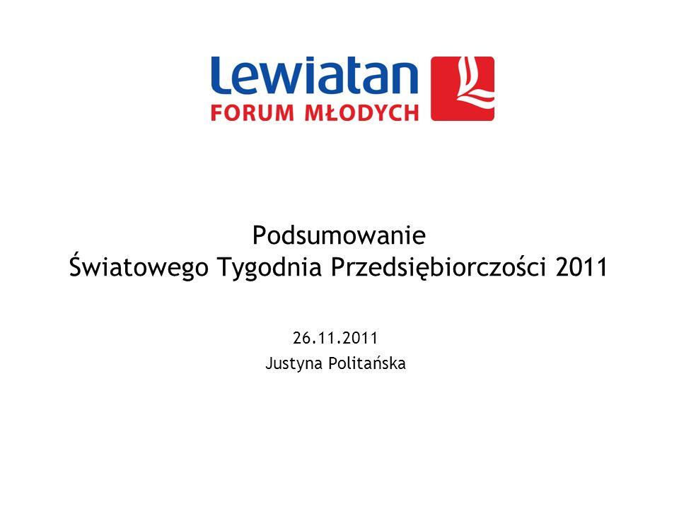 Podsumowanie Światowego Tygodnia Przedsiębiorczości 2011 26.11.2011 Justyna Politańska