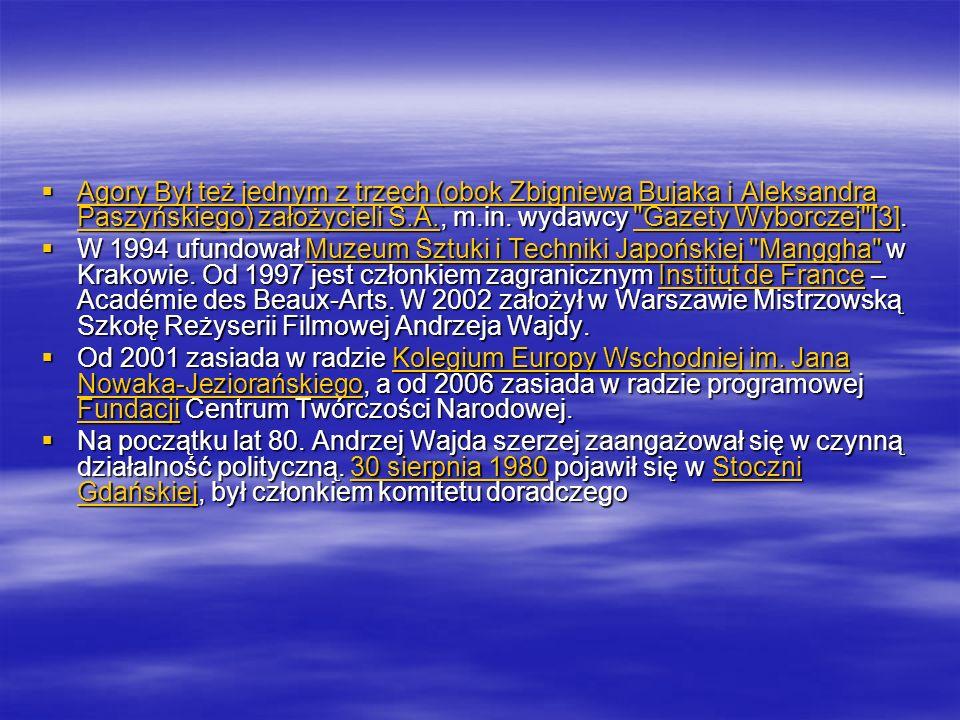 Agory Był też jednym z trzech (obok Zbigniewa Bujaka i Aleksandra Paszyńskiego) założycieli S.A., m.in. wydawcy
