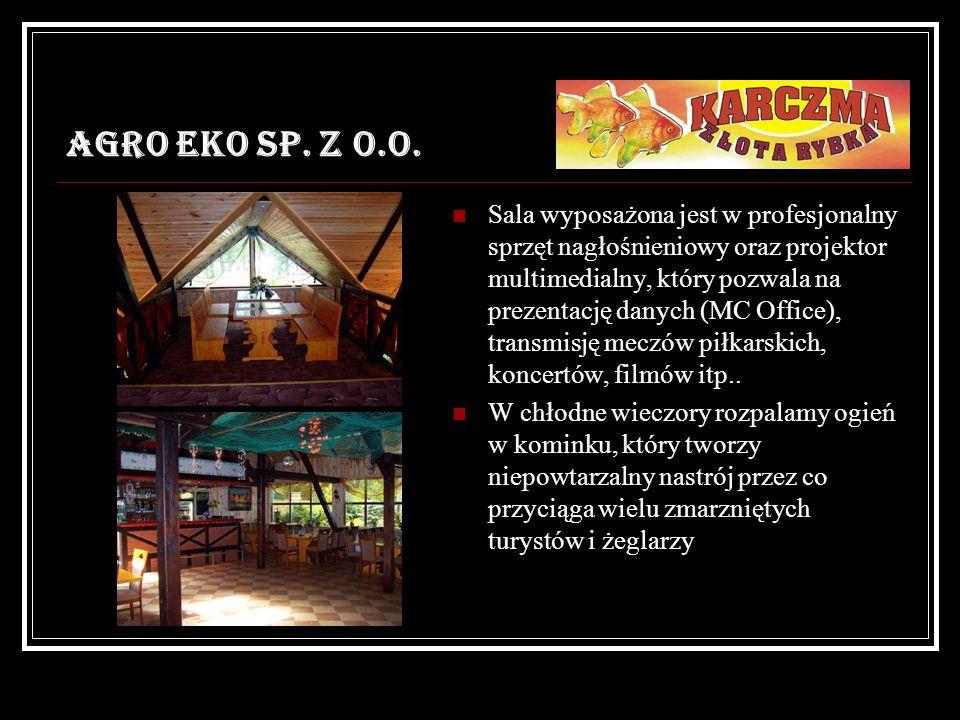 AGRO EKO SP. Z O.O. Sala wyposażona jest w profesjonalny sprzęt nagłośnieniowy oraz projektor multimedialny, który pozwala na prezentację danych (MC O