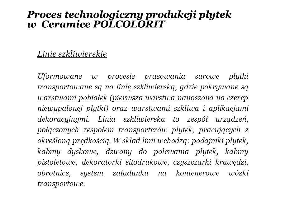 Proces technologiczny produkcji płytek w Ceramice POLCOLORIT Linie szkliwierskie Uformowane w procesie prasowania surowe płytki transportowane są na l