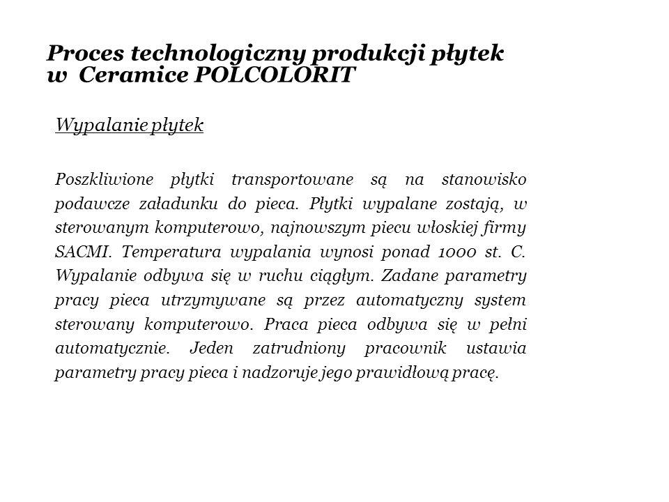 Proces technologiczny produkcji płytek w Ceramice POLCOLORIT Wypalanie płytek Poszkliwione płytki transportowane są na stanowisko podawcze załadunku d