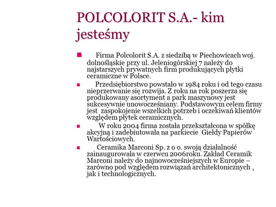 W dniu 02.01.2009 nastąpiło połączenie Ceramiki POLCOLORIT S.A.