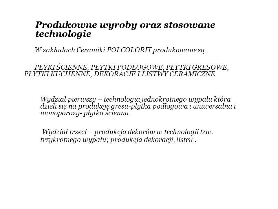 Wydział pierwszy – technologia jednokrotnego wypału która dzieli się na produkcję gresu-płytka podłogowa i uniwersalna i monoporozy- płytka ścienna. W