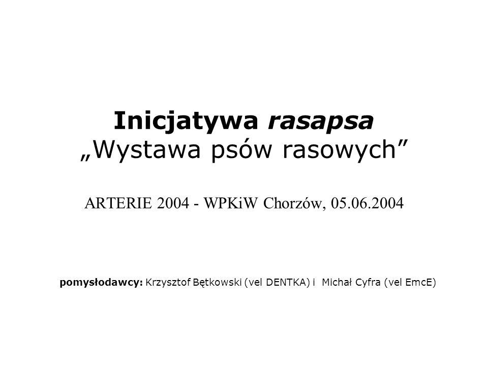 Inicjatywa rasapsa Wystawa psów rasowych ARTERIE 2004 - WPKiW Chorzów, 05.06.2004 pomysłodawcy: Krzysztof Bętkowski (vel DENTKA) i Michał Cyfra (vel E