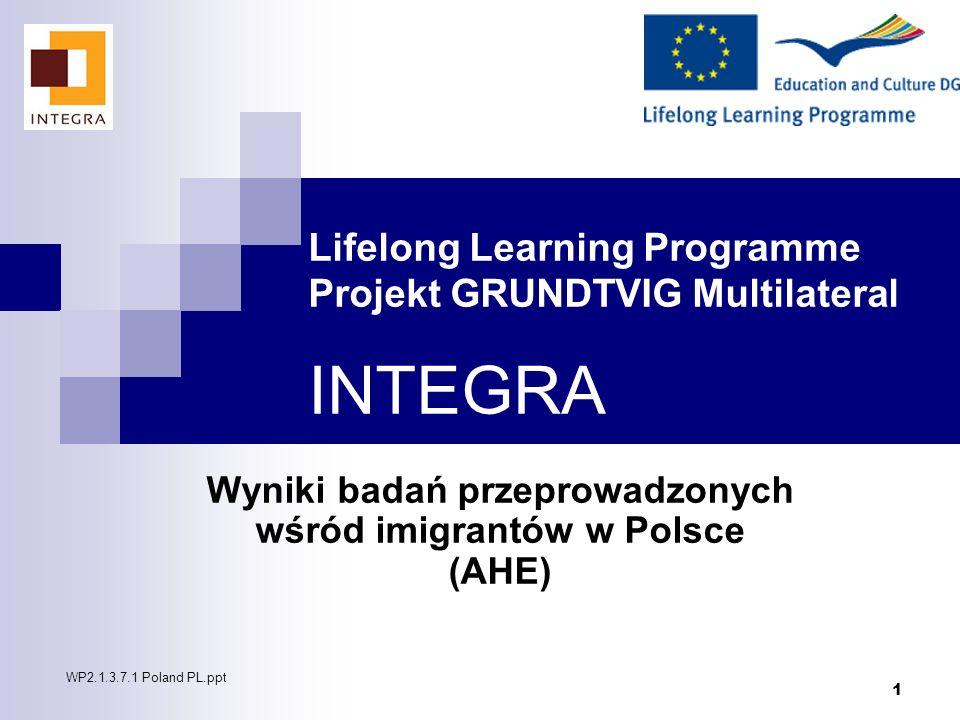 1 Lifelong Learning Programme Projekt GRUNDTVIG Multilateral INTEGRA Wyniki badań przeprowadzonych wśród imigrantów w Polsce (AHE) WP2.1.3.7.1 Poland
