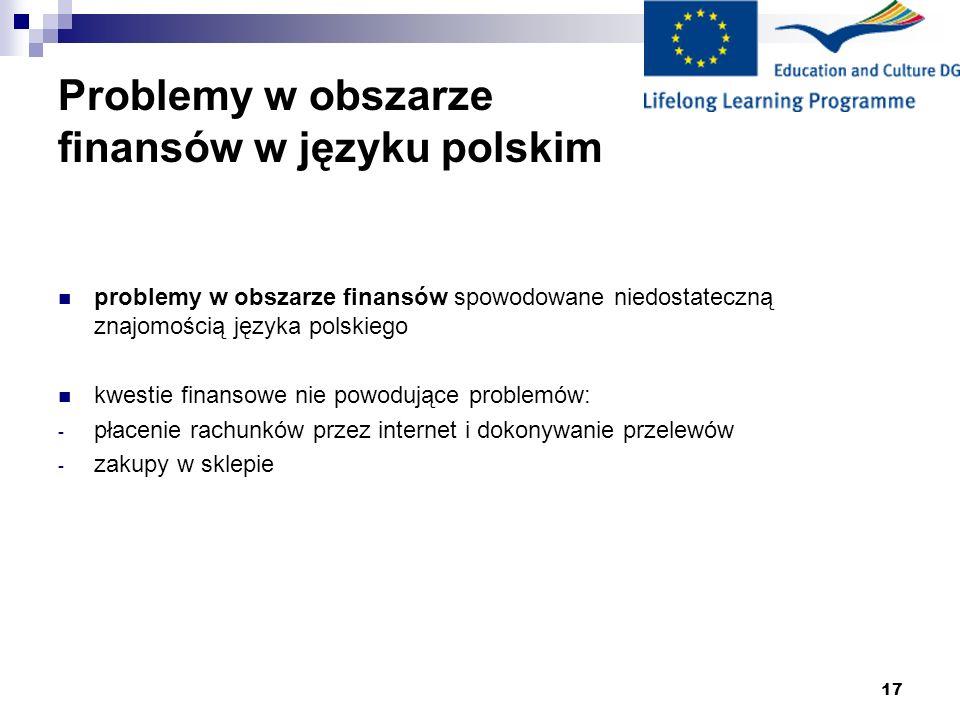 18 Rozwiązywanie problemów z językiem polskim * język angielski (10 osób) język rosyjski (6 osób) język angielski i język rosyjski (3 osoby) brak odpowiedzi (1 osoba) większość migrantów prosi o pomoc (57,5%) lub używa języka angielskiego lub rosyjskiego (50%) gdy napotyka problemy dotyczące finansów