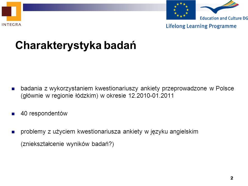 2 Charakterystyka badań badania z wykorzystaniem kwestionariuszy ankiety przeprowadzone w Polsce (głównie w regionie łódzkim) w okresie 12.2010-01.201