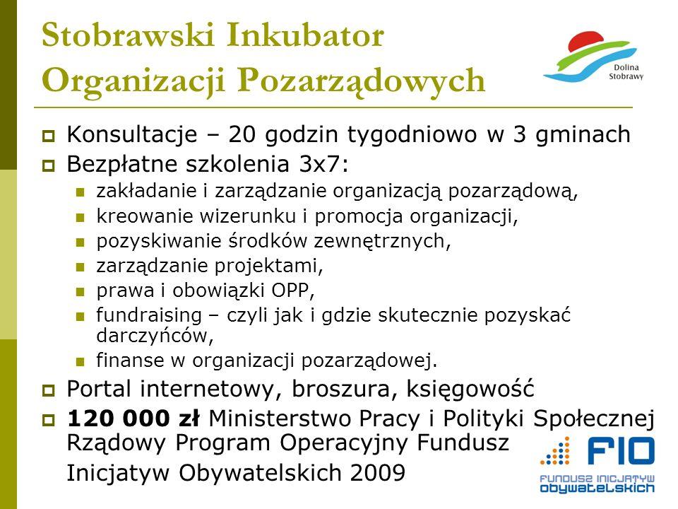 Stobrawski Inkubator Organizacji Pozarządowych Konsultacje – 20 godzin tygodniowo w 3 gminach Bezpłatne szkolenia 3x7: zakładanie i zarządzanie organi