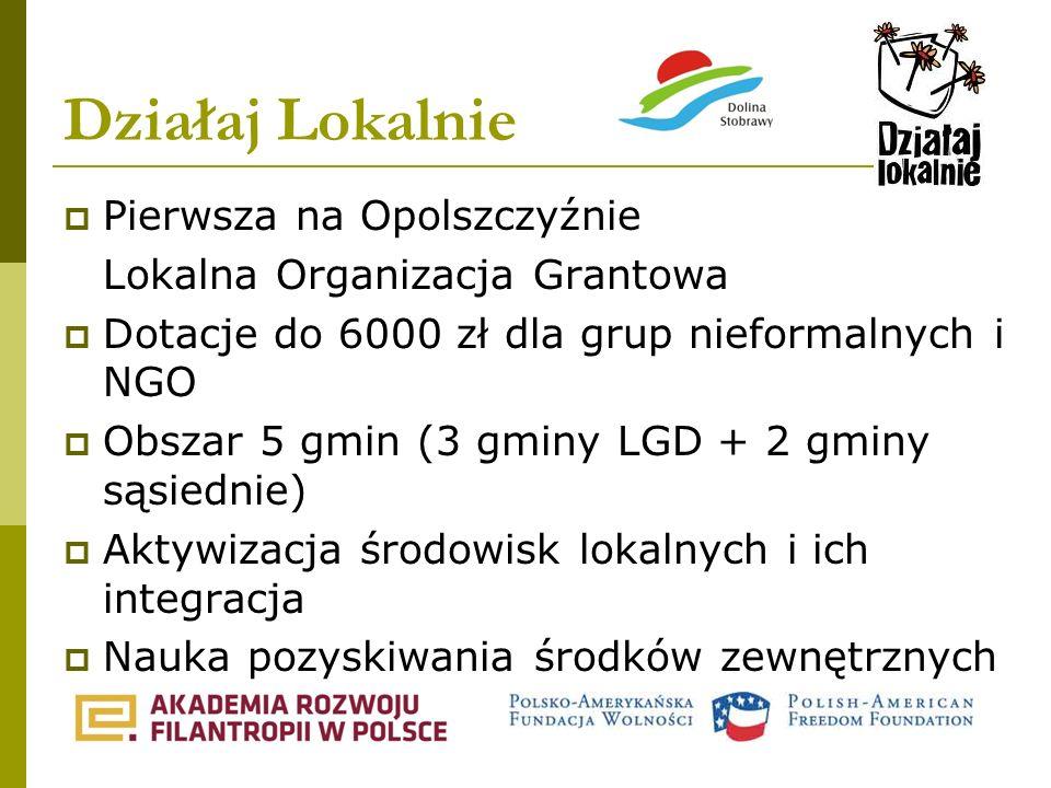 Działaj Lokalnie Pierwsza na Opolszczyźnie Lokalna Organizacja Grantowa Dotacje do 6000 zł dla grup nieformalnych i NGO Obszar 5 gmin (3 gminy LGD + 2