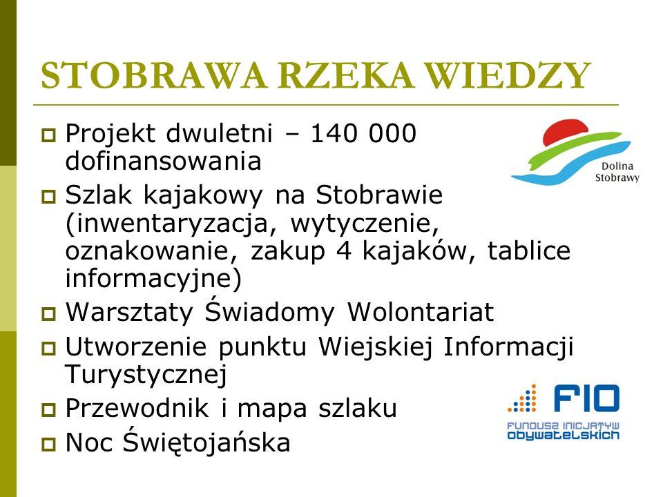 STOBRAWA RZEKA WIEDZY Projekt dwuletni – 140 000 dofinansowania Szlak kajakowy na Stobrawie (inwentaryzacja, wytyczenie, oznakowanie, zakup 4 kajaków,