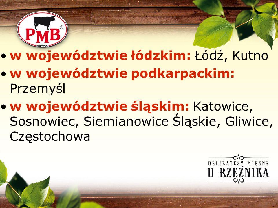 w województwie łódzkim: Łódź, Kutno w województwie podkarpackim: Przemyśl w województwie śląskim: Katowice, Sosnowiec, Siemianowice Śląskie, Gliwice,