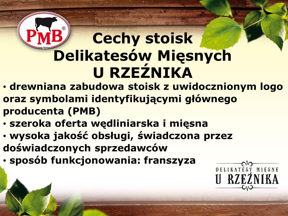 drewniana zabudowa stoisk z uwidocznionym logo oraz symbolami identyfikującymi głównego producenta (PMB) szeroka oferta wędliniarska i mięsna wysoka j